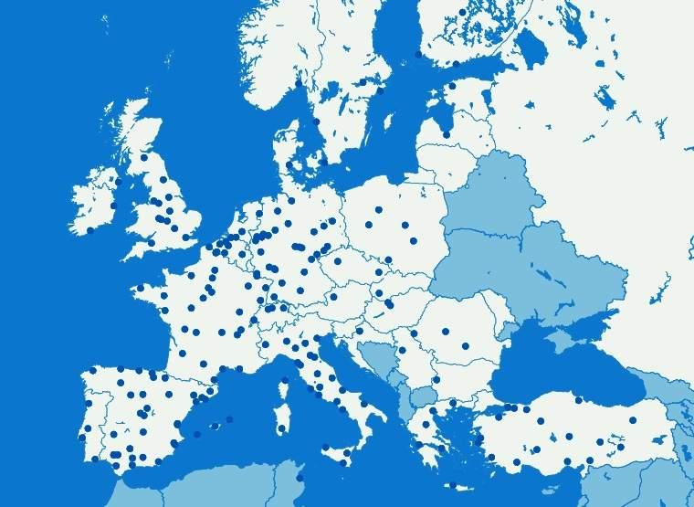 CHEP Europa in kaart