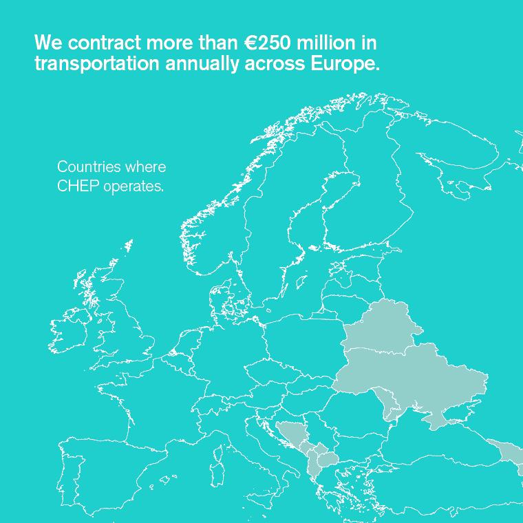 Contratamos mais de 250 milhões de euros em transporte anualmente em toda a Europa