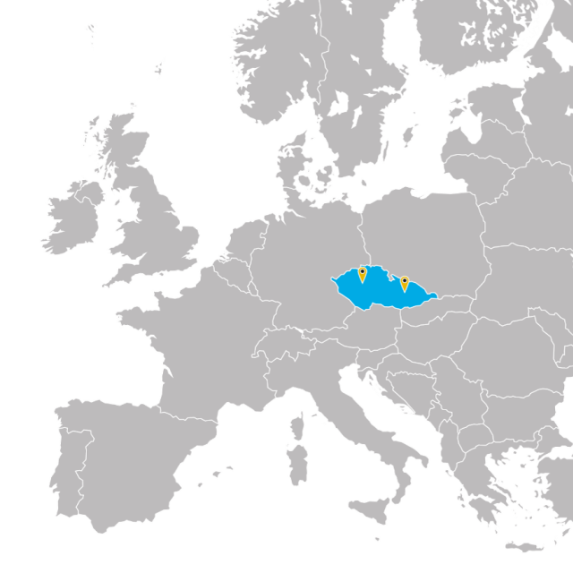 Map of Europe with highlighted Czech republic