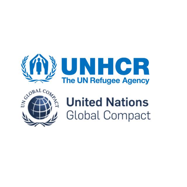 Logo des Flüchtlingshilfswerks der Vereinten Nationen und United Nations Compact Logo